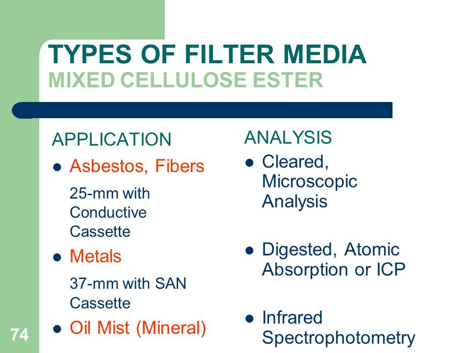 74 TYPES OF FILTER MEDIA MIXED CELLULOSE ESTER APPLICATION Asbestos, Fibers 25-mm with Conductive Cassette Metals 37-mm with SAN Cassette Oil Mist (Mineral) ANALYSIS Cleared, Microscopic Analysis Digested, Atomic Absorption or ICP Infrared Spectrophotometry