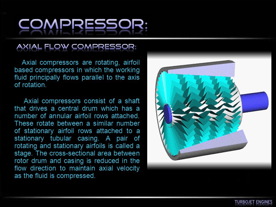 Axial compressors are rotating, airfoil based compressors in which the working fluid principally flows parallel to the axis of rotation. Axial compres