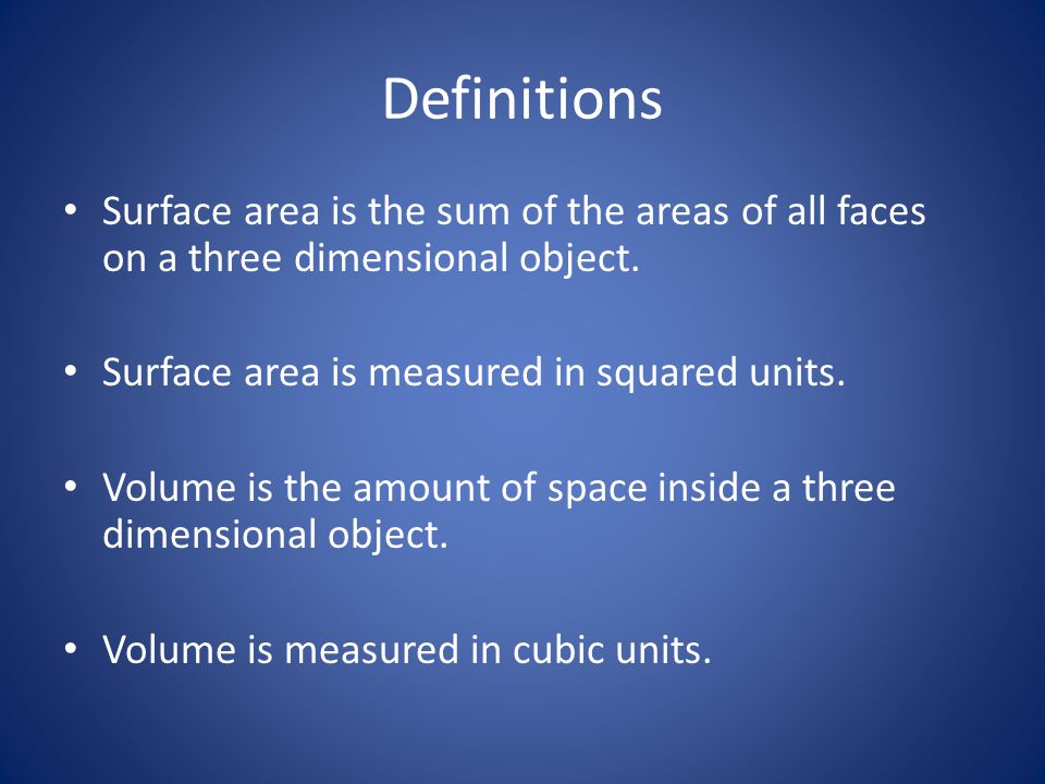 Definitions Surface area is the sum of the areas of all faces on a three dimensional object.