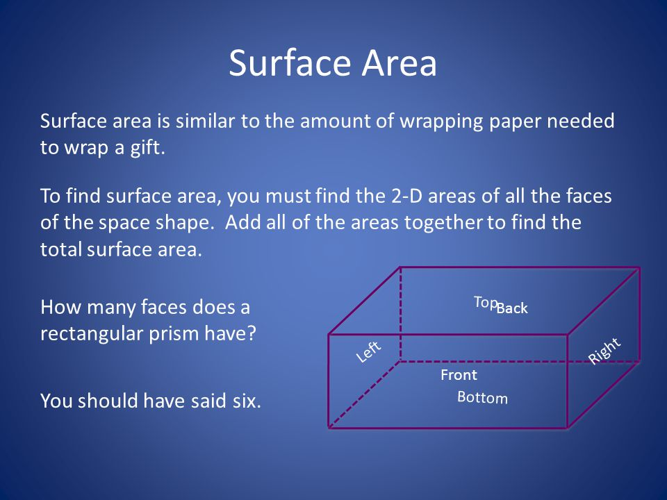 Surface Area Surface area is similar to the amount of wrapping paper needed to wrap a gift.