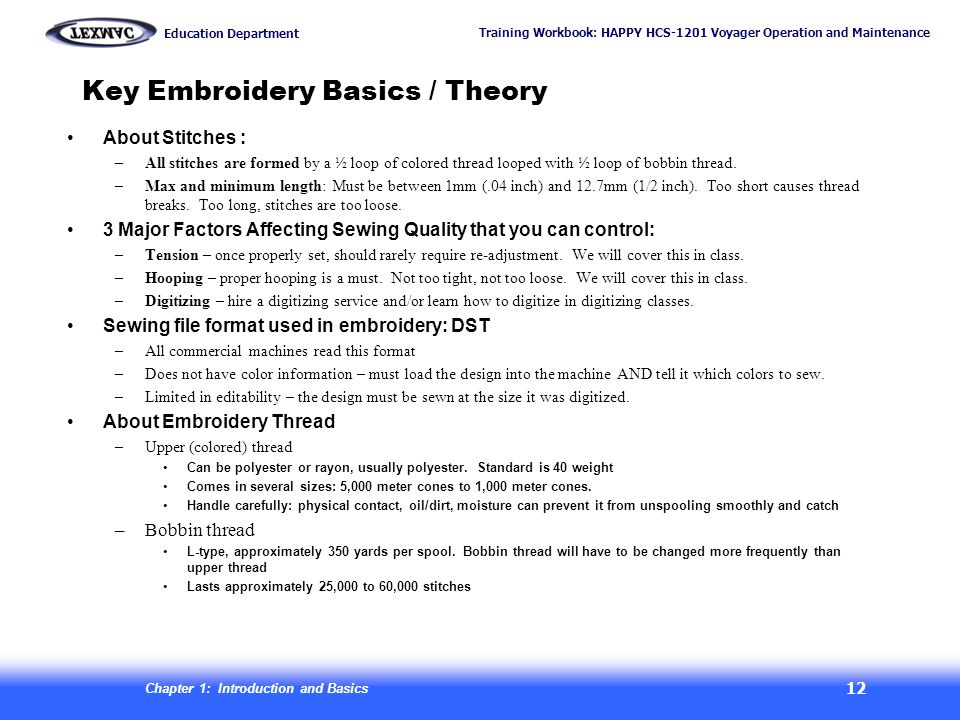 Training Workbook: HAPPY HCS-1201 Voyager Operation and Maintenance Education Department Chapter 1: Introduction and Basics 12 Key Embroidery Basics /
