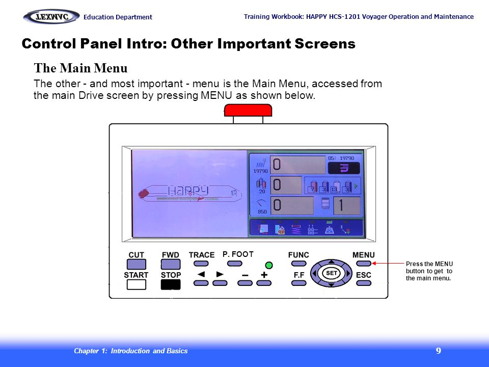 Training Workbook: HAPPY HCS-1201 Voyager Operation and Maintenance Education Department Chapter 1: Introduction and Basics 10 Control Panel Intro: Other Important Screens Press the ESC key exits you to the main (drive) screen.