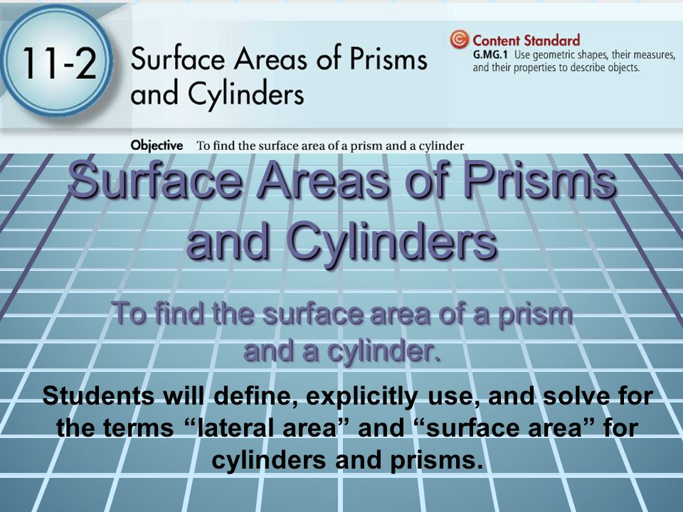 Surface Areas of Prisms and Cylinders To find the surface area of a prism and a cylinder. Students will define, explicitly use, and solve for the term