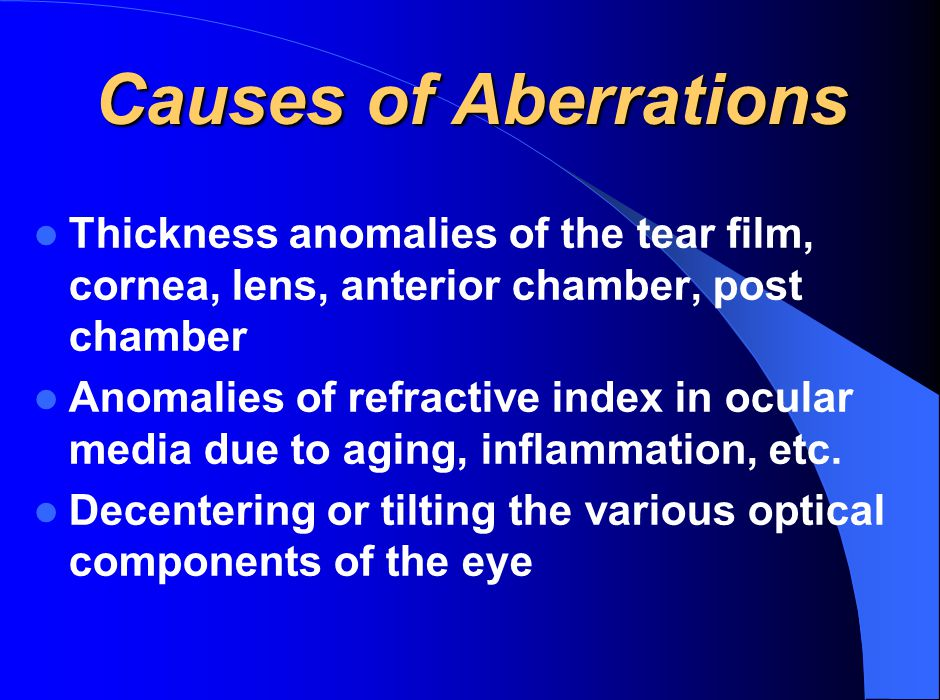 Causes of Aberrations Thickness anomalies of the tear film, cornea, lens, anterior chamber, post chamber Anomalies of refractive index in ocular media