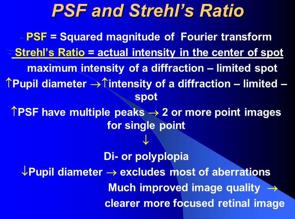 PSF and Strehl's Ratio - PSF = Squared magnitude of Fourier transform - Strehl's Ratio = actual intensity in the center of spot maximum intensity of a