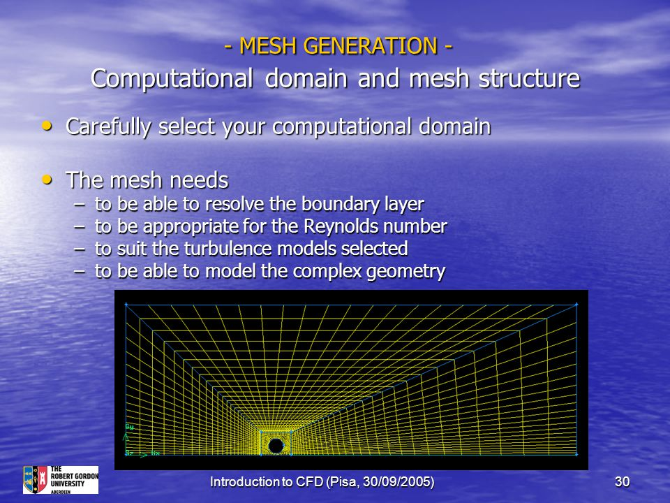 Introduction to CFD (Pisa, 30/09/2005)30 - MESH GENERATION - Computational domain and mesh structure - MESH GENERATION - Computational domain and mesh
