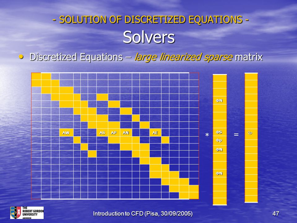 Introduction to CFD (Pisa, 30/09/2005)47 - SOLUTION OF DISCRETIZED EQUATIONS - Solvers - SOLUTION OF DISCRETIZED EQUATIONS - Solvers Discretized Equat