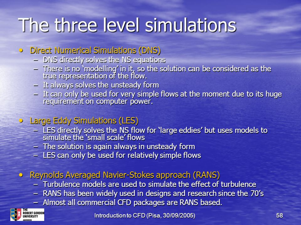 Introduction to CFD (Pisa, 30/09/2005)58 The three level simulations Direct Numerical Simulations (DNS) Direct Numerical Simulations (DNS) –DNS direct