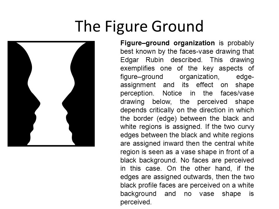 The Figure Ground Figure–ground organization is used to help artists and designers in composition of a 2D piece.