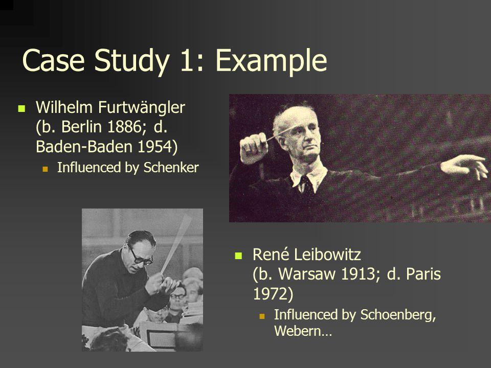Case Study 1: Example Wilhelm Furtwängler (b. Berlin 1886; d.