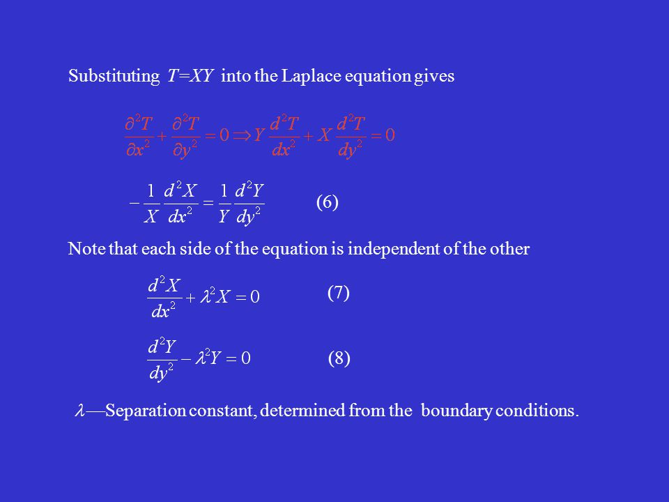 (6) (7) (8) Note that each side of the equation is independent of the other Substituting T=XY into the Laplace equation gives —Separation constant, determined from the boundary conditions.
