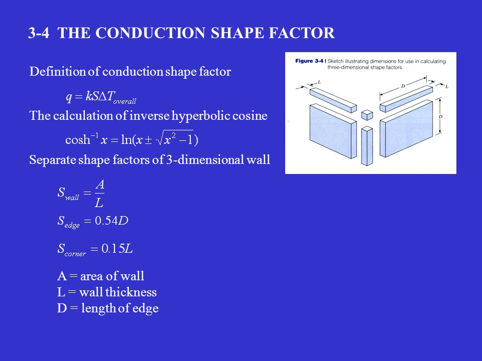 3-4 THE CONDUCTION SHAPE FACTOR The calculation of inverse hyperbolic cosine Definition of conduction shape factor Separate shape factors of 3-dimensional wall A = area of wall L = wall thickness D = length of edge