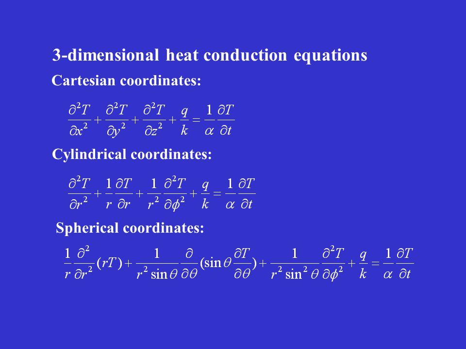 Cartesian coordinates: Cylindrical coordinates: Spherical coordinates: 3-dimensional heat conduction equations
