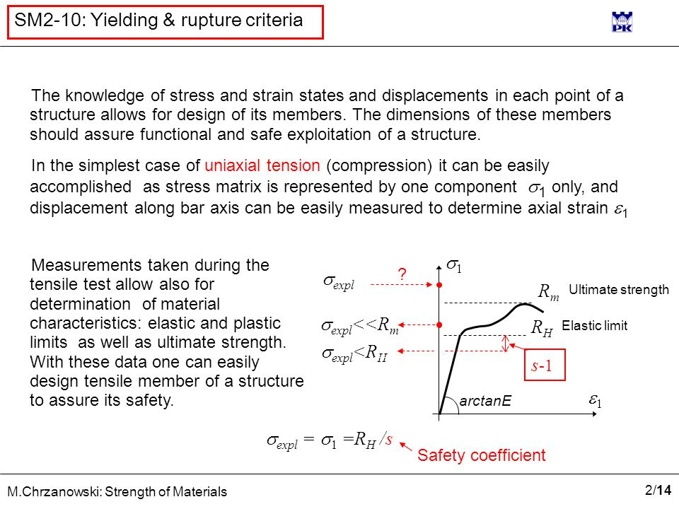 2/142/14 M.Chrzanowski: Strength of Materials SM2-10: Yielding & rupture criteria The knowledge of stress and strain states and displacements in each point of a structure allows for design of its members.
