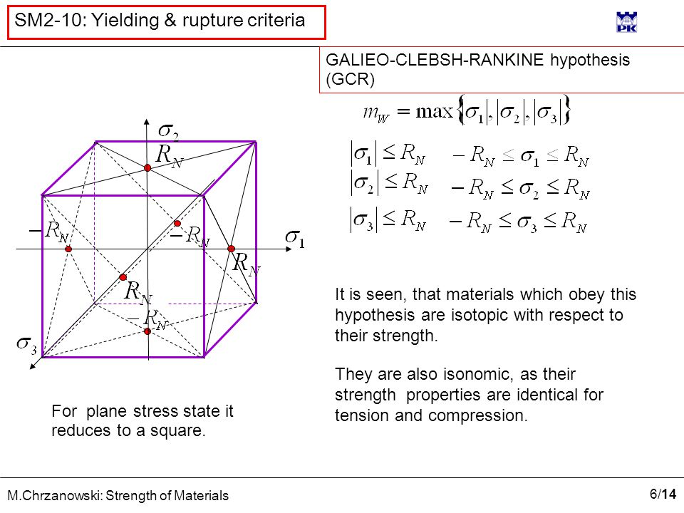 6/146/14 M.Chrzanowski: Strength of Materials SM2-10: Yielding & rupture criteria It is seen, that materials which obey this hypothesis are isotopic with respect to their strength.