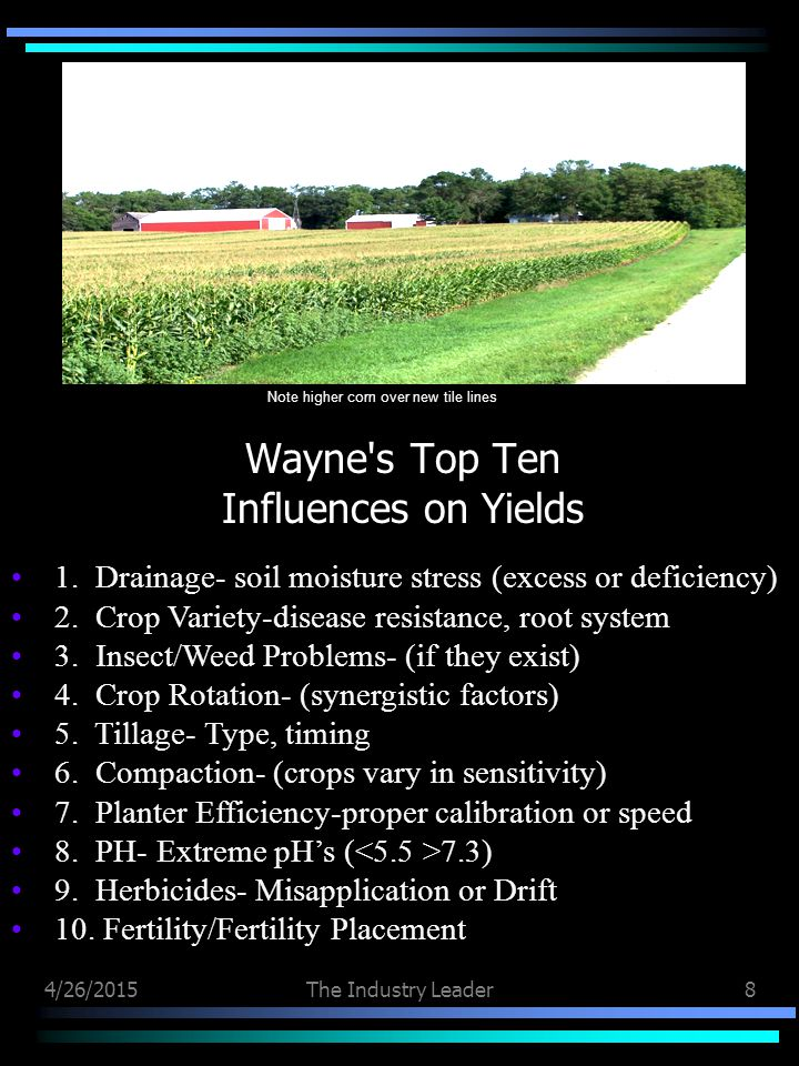 4/26/2015The Industry Leader8 Wayne s Top Ten Influences on Yields 1.