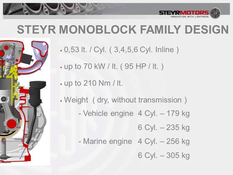 STEYR MONOBLOCK FAMILY DESIGN  0,53 lt. / Cyl. ( 3,4,5,6 Cyl.