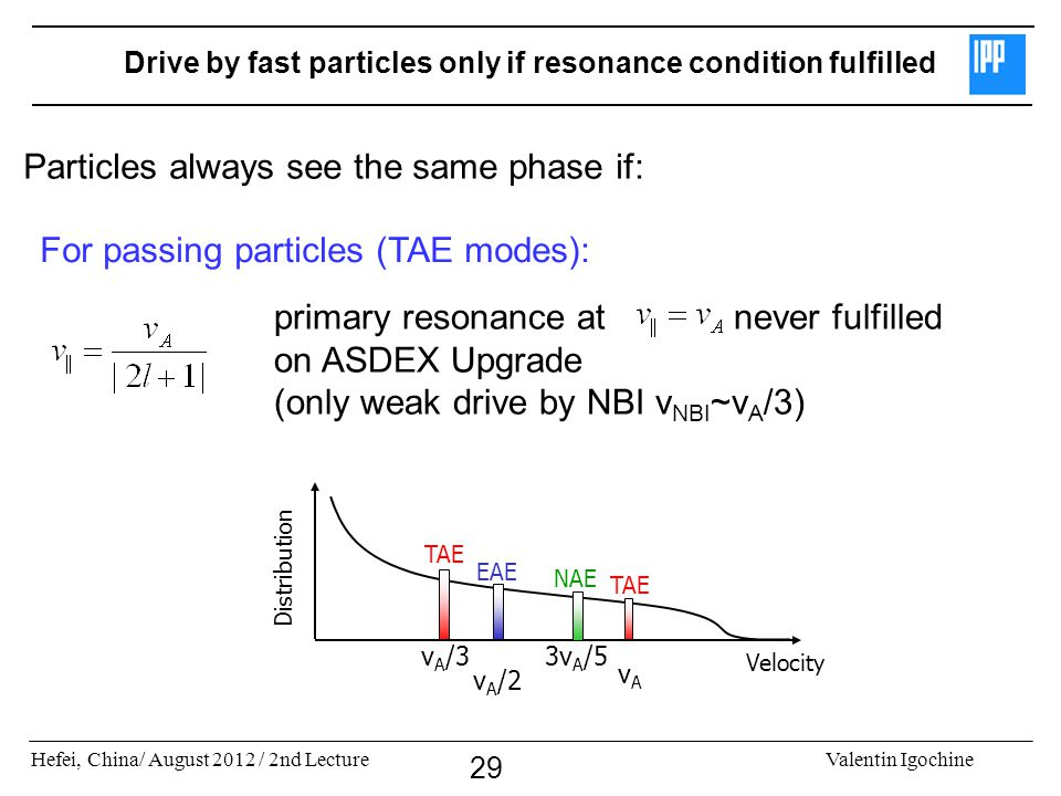 Hefei, China/ August 2012 / 2nd LectureValentin Igochine 29 Drive by fast particles only if resonance condition fulfilled Particles always see the same phase if: primary resonance at never fulfilled on ASDEX Upgrade (only weak drive by NBI v NBI ~v A /3) For passing particles (TAE modes): vAvA v A /2 v A /3 3v A /5 Velocity Distribution EAE TAE NAE TAE