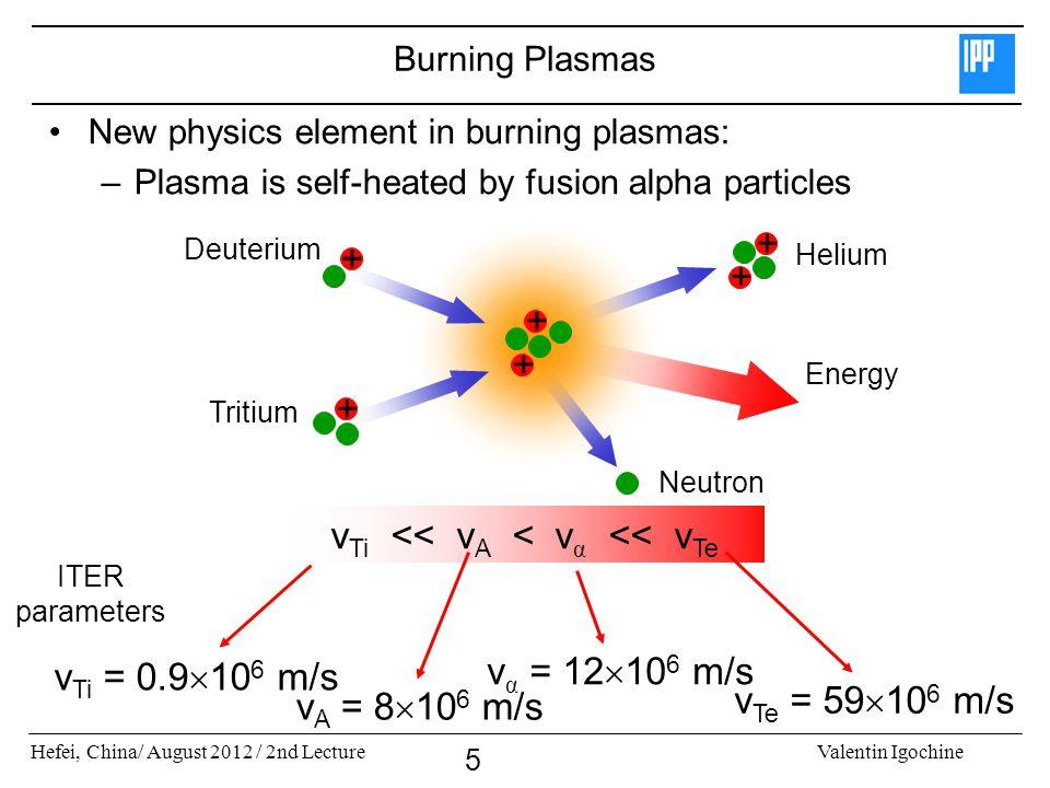 Hefei, China/ August 2012 / 2nd LectureValentin Igochine 5 Burning Plasmas New physics element in burning plasmas: –Plasma is self-heated by fusion alpha particles v Ti << v A < v α << v Te v Ti = 0.9  10 6 m/s v A = 8  10 6 m/s v α = 12  10 6 m/s v Te = 59  10 6 m/s ITER parameters + + + Deuterium + Tritium Energy + + Helium Neutron
