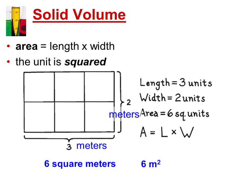 Solid Volume area = length x width the unit is squared 6 square meters 6 m 2 meters
