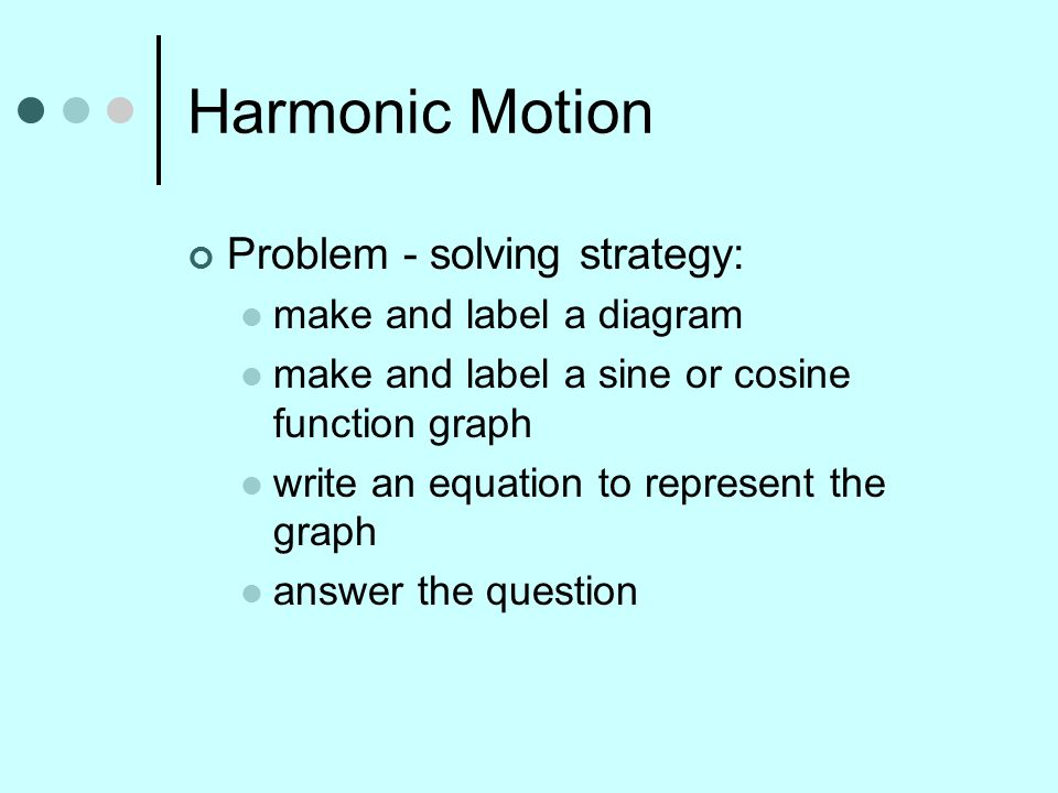 Harmonic Motion Problem - solving strategy: make and label a diagram make and label a sine or cosine function graph write an equation to represent the graph answer the question