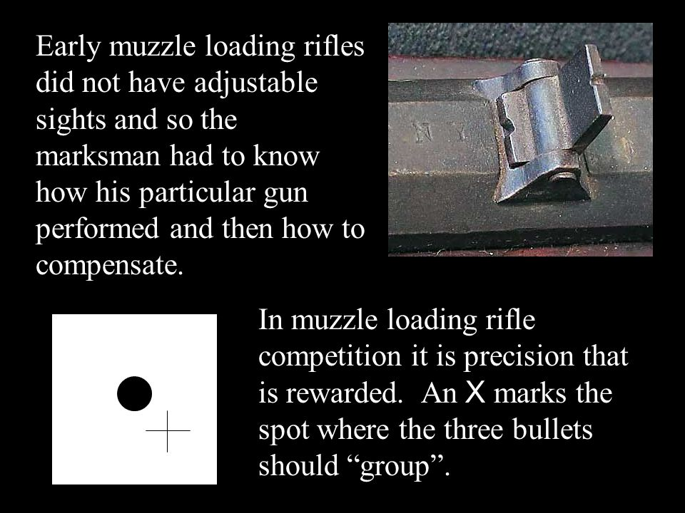 Early muzzle loading rifles did not have adjustable sights and so the marksman had to know how his particular gun performed and then how to compensate