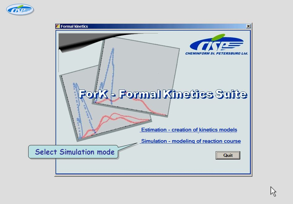 ForK Tutorial ForK Tutorial Exercise 2 Creating new simulation project to estimate explosion hazard Kinetics: Complex reaction with 2 stages in parallel: (1) A  B – N-order initiation reaction; stage rate – r 1 (2) A+B  2B – autocatalytic stage; stage rate - r 2 Math model:(1): lnK 01 =20.4; n 11 =2; E 1 =102 kJ/mol; Q 1 =800 J/g (2) lnK 02 =23; n 21 =4; n 22 =3; E 2 =96 kJ/mol; Q 2 =1800 J/g Kinetics: Complex reaction with 2 stages in parallel: (1) A  B – N-order initiation reaction; stage rate – r 1 (2) A+B  2B – autocatalytic stage; stage rate - r 2 Math model:(1): lnK 01 =20.4; n 11 =2; E 1 =102 kJ/mol; Q 1 =800 J/g (2) lnK 02 =23; n 21 =4; n 22 =3; E 2 =96 kJ/mol; Q 2 =1800 J/g Click here to continue