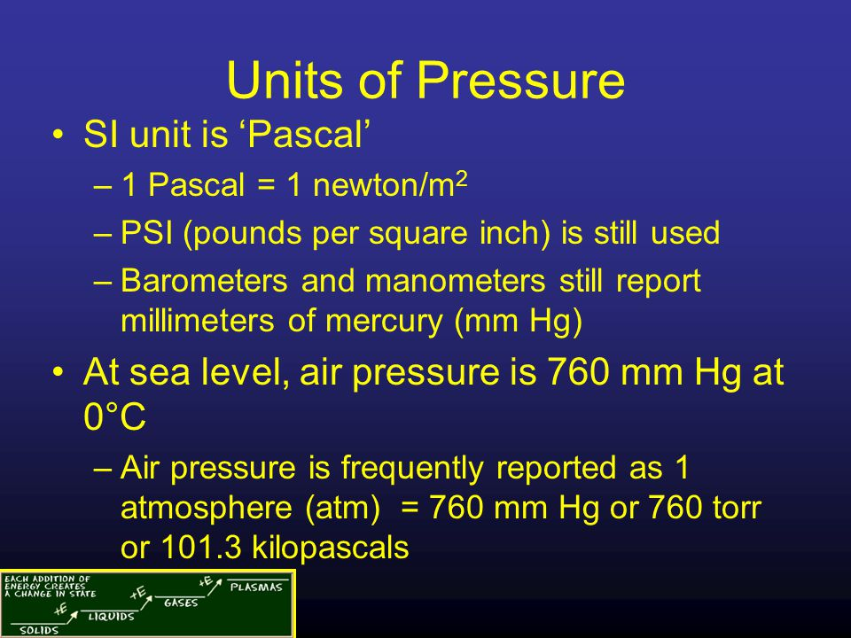 Units of Pressure SI unit is 'Pascal' –1 Pascal = 1 newton/m 2 –PSI (pounds per square inch) is still used –Barometers and manometers still report mil
