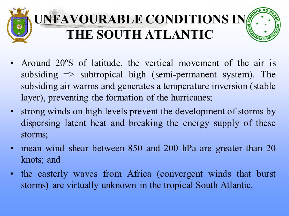 UNFAVOURABLE CONDITIONS IN THE SOUTH ATLANTIC Around 20ºS of latitude, the vertical movement of the air is subsiding => subtropical high (semi-permanent system).