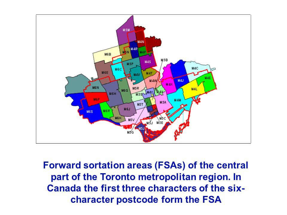Forward sortation areas (FSAs) of the central part of the Toronto metropolitan region. In Canada the first three characters of the six- character post