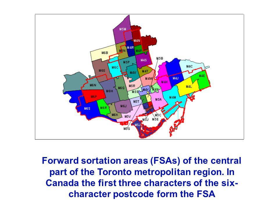 Forward sortation areas (FSAs) of the central part of the Toronto metropolitan region.