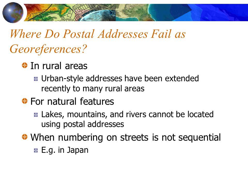 Where Do Postal Addresses Fail as Georeferences.