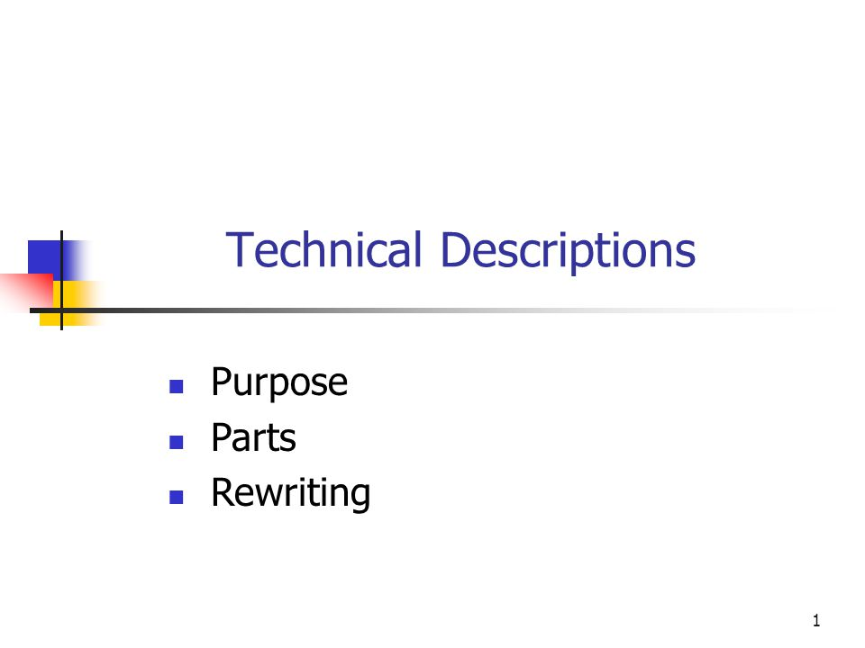 1 Technical Descriptions Purpose Parts Rewriting