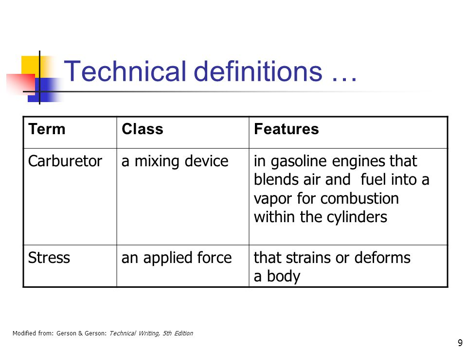 Modified from: Gerson & Gerson: Technical Writing, 5th Edition 9 Technical definitions … TermClassFeatures Carburetora mixing devicein gasoline engines that blends air and fuel into a vapor for combustion within the cylinders Stressan applied forcethat strains or deforms a body
