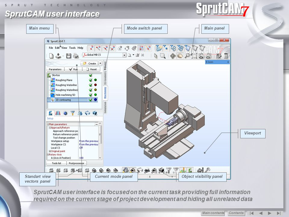 Controlled scallop feature When scallop control option enabled, SprutCAM calculates toolpath for the operation considering the specified by the technologist maximum scallop value between nearing tool passes.