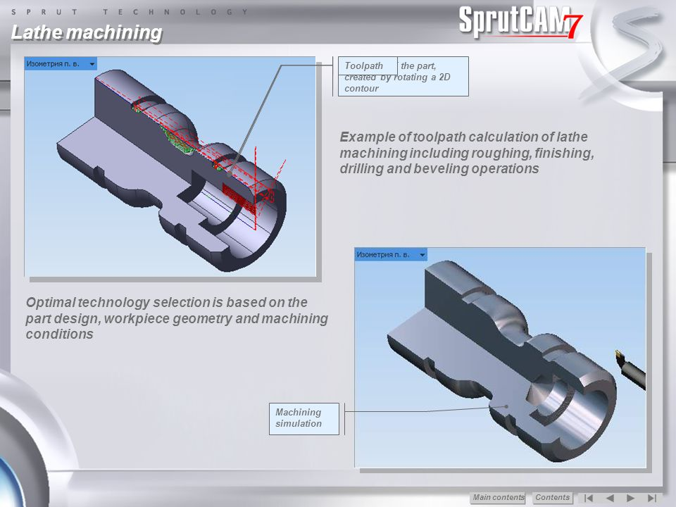 Advantages of SprutCAM Minimum labour content of the creation G-code Convenience in use Quick mastering (1-2 days) Integration with known CAD Fast adjustment for any CNC Minimal requirements to a PC configuration Fast recoupment of capital investments Training and support Free updating within the version SprutCAM 7 ® Main сontentsContents