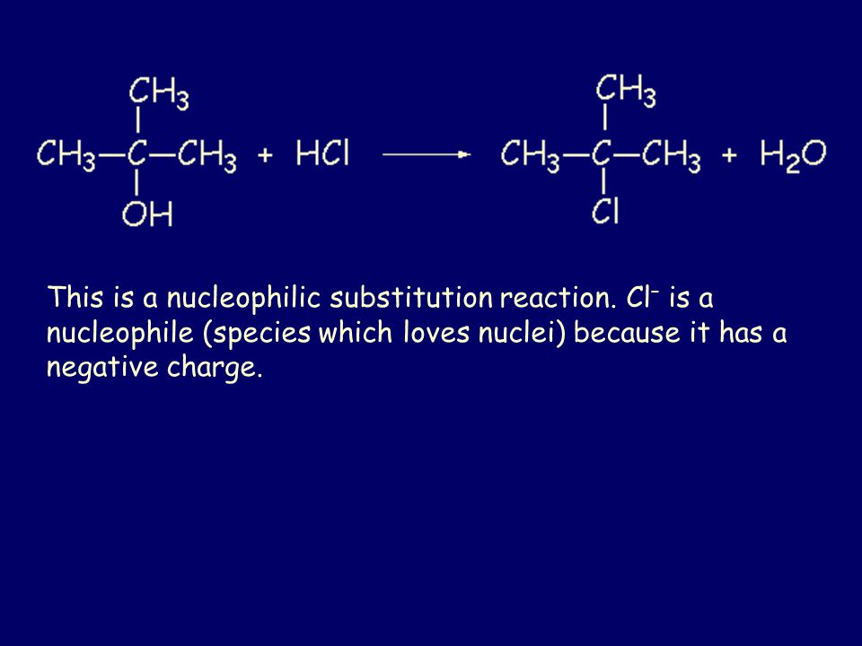 Points to note: Tertiary alcohols are the most easily substituted Excess acid is removed with sodium carbonate solution Anhydrous (without water) sodium sulfate is used as a drying agent, to remove water from an organic solution.
