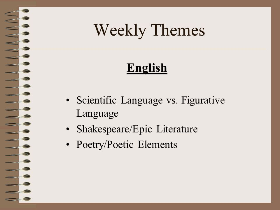 Weekly Themes English Scientific Language vs.