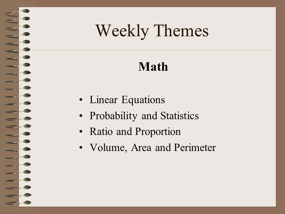Weekly Themes Math Linear Equations Probability and Statistics Ratio and Proportion Volume, Area and Perimeter