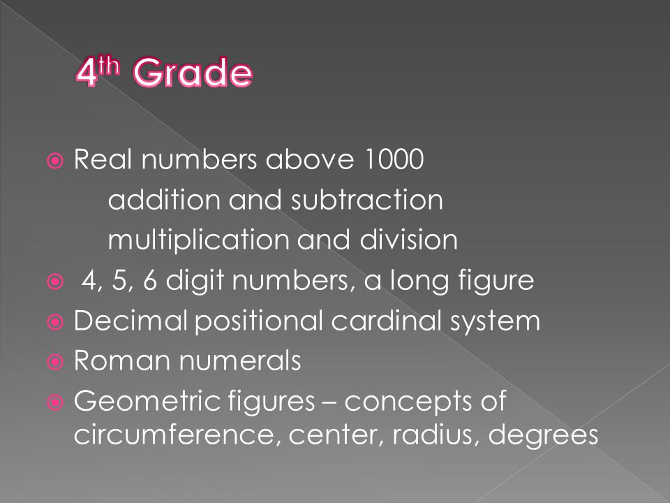  Fractions, decimals, decimal comma  Sum and difference of segments  Geometric figures and solids  Drawing of triangles and quadrangles  Distance from a point to a straight line  Right-angled parallelepiped and cube  Perimeter and area of a triangle, a rectangle and a square