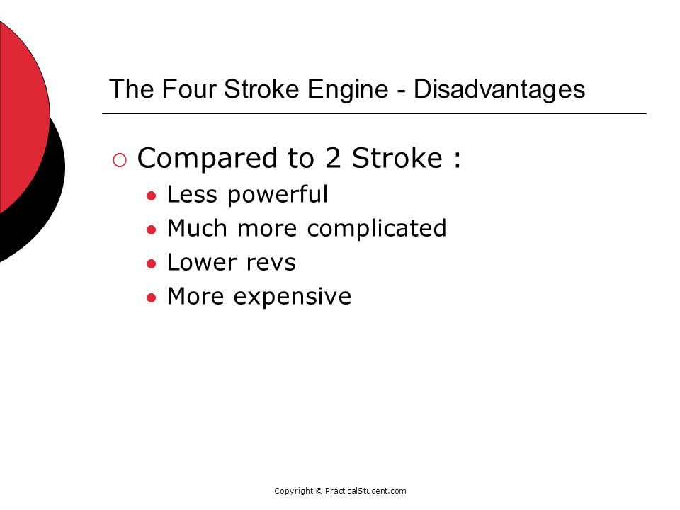 Copyright © PracticalStudent.com The Four Stroke Engine - Disadvantages  Compared to 2 Stroke : Less powerful Much more complicated Lower revs More expensive