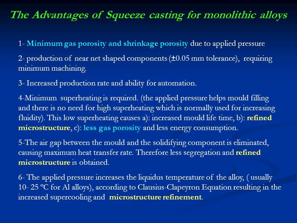 The Advantages of Squeeze casting for monolithic alloys 7- با استفاده از این روش می توان کامپوزیتهای ذره ای و الیافی را تولید کرد.