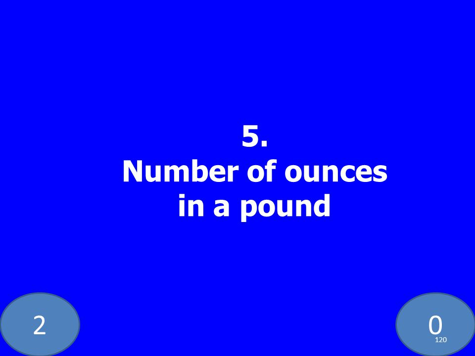 20 5. Number of ounces in a pound 120