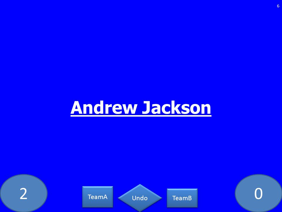 20 Andrew Jackson 6 TeamA TeamB Undo