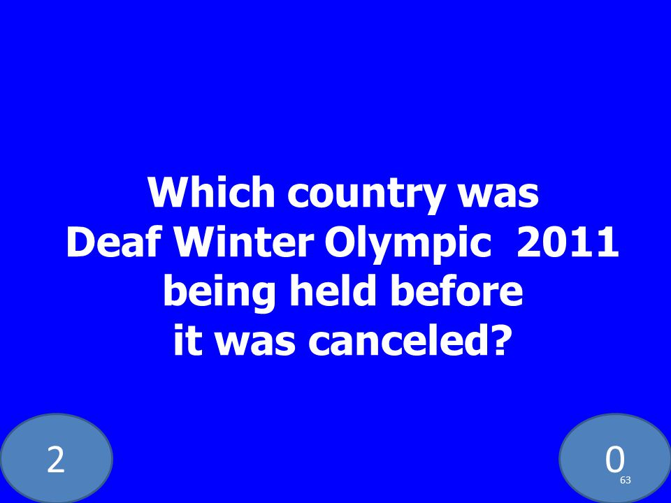 20 Which country was Deaf Winter Olympic 2011 being held before it was canceled? 63