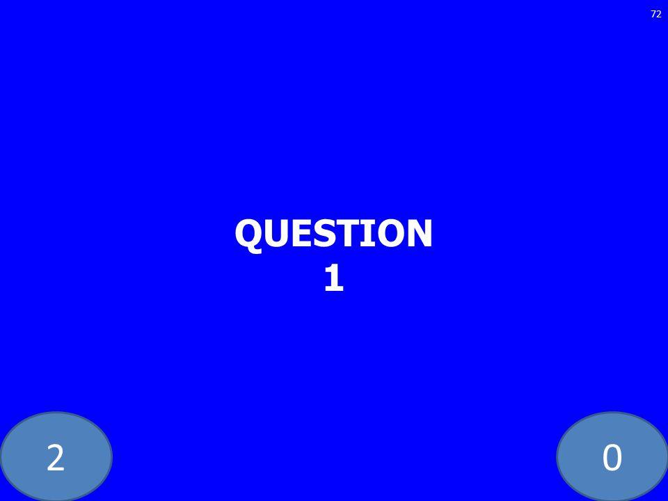 20 QUESTION 1 72