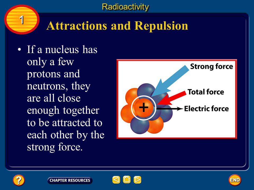 Attractions and Repulsion Some atoms, such as uranium, have many protons and neutrons in their nuclei.
