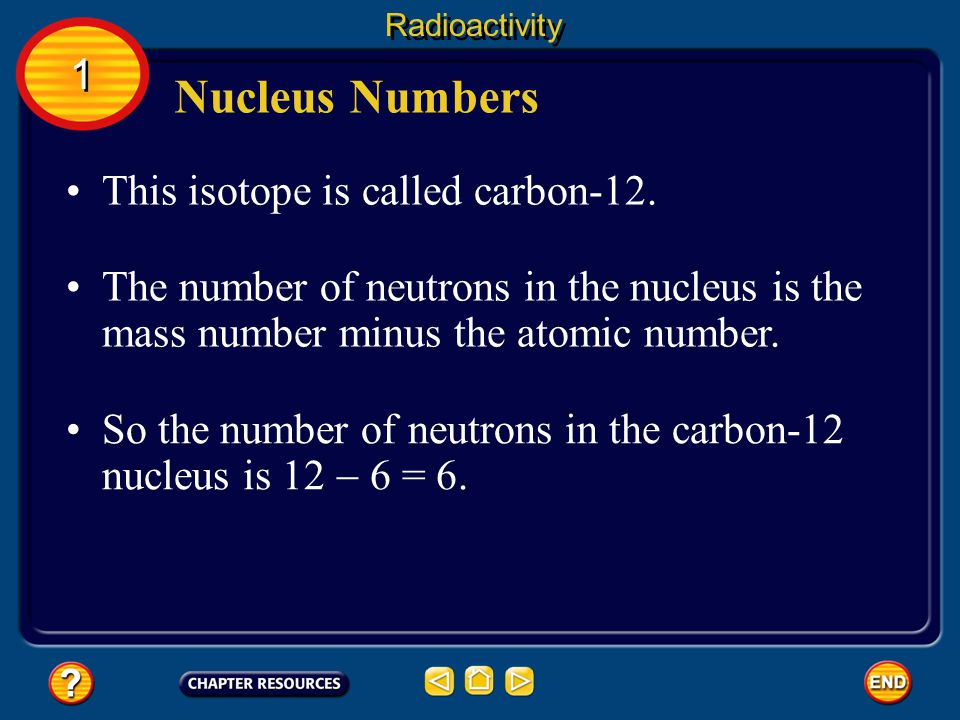 Nucleus Numbers A nucleus can be represented by a symbol that includes its atomic number, mass number, and the symbol of the element it belongs to.