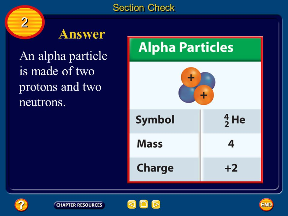 Section Check What is an alpha particle composed of? 2 2 Question 1