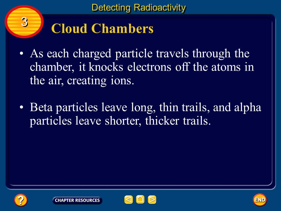 Cloud Chambers Detecting Radioactivity A cloud chamber can be used to detect alpha or beta particle radiation.